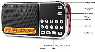 Portable AM/FM Radio with Digital Tuner USB TF and rechargable battery
