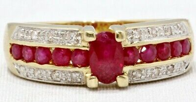 14K Solid Yellow Gold Oval Natural Ruby & Diamond Channel Set Ring Band Size 8
