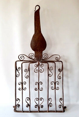 RARE 18thc. Antique Wrought Iron HEARTH BROILER Gridiron With Scrolling HEARTS