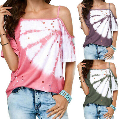 2bb7436d2 Womens Off Shoulder Strappy Blouse Short Sleeve Casual Holiday Beach Tops  Summer