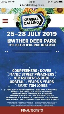 Kendal Calling 2019 Great Plains Tickets X 2 Adult and 1 Teen Ticket £500 Ono.