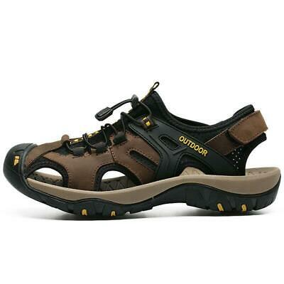 Mens Leather Sandals Shoes Nonslip Beach Outdoor Hiking Casual Closed Toe Flats
