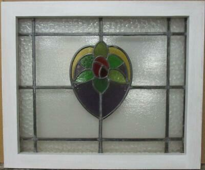 "MID SIZED OLD ENGLISH LEADED STAINED GLASS WINDOW Floral Heart 23.75"" x 20"""