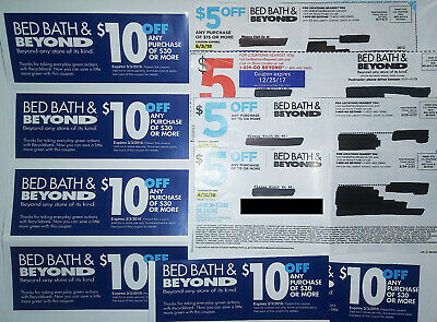 Bed Bath & Beyond Coupons (6) $10 Off $30 & (4) $5 Off $15