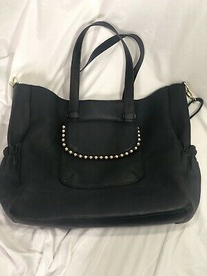 Big Buddha Black Gold Studded Faux Leather Women's Bag With Pockets, Diaper Bag