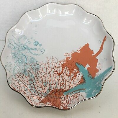 The Little Mermaid Ariel Disney Parks Fairy Tales and Sea Shells Plate Coral