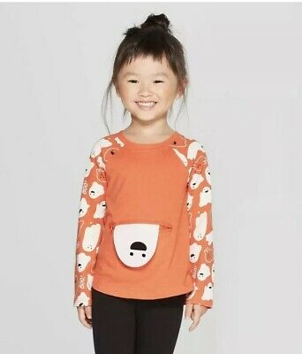 CAT & JACK NWT Toddler Girls Size 2T Orange Long Sleeve Peek A Boo Ghost Pocket