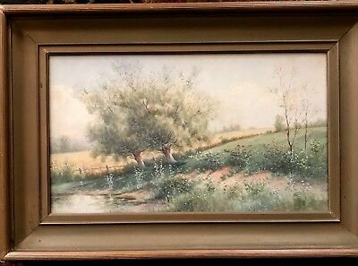 Antique Watercolor Painting-Listed PA Artist-19C-Spring Landscape-Nice Detail
