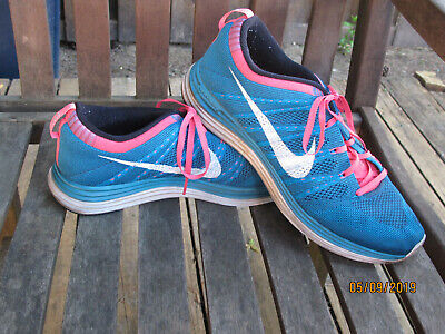 e65d95d9dbe1 Nike Flyknit One Mens Sz 11 554887-414 LUNAR TRAINER RACER Turqoise and Pink
