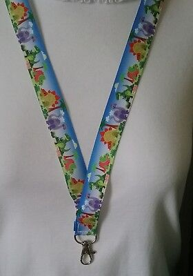 Blue dinosaur trex dino ribbon lanyard safety clip ID badge holder student gift