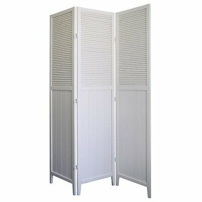 3 Panel Shutter Solid Wood Room Screen Divider White Finish