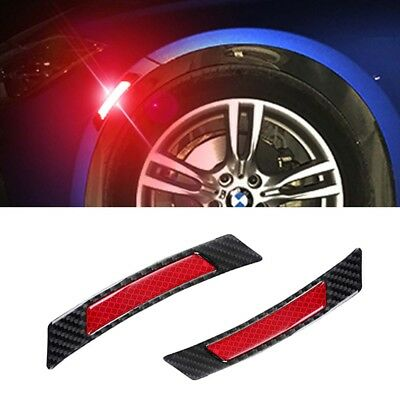 2X Red Carbon Fiber Protection Reflrvtive Strip Wheel Eyebrow Edge Guard Sticker