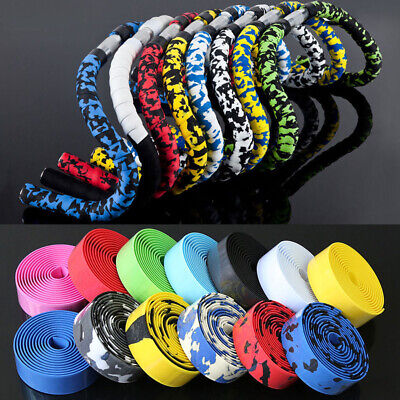 2Pcs Road Bike Sports Bicycle Handlebar Rubber Tape Wrap with 2 Bar Plug Sightly