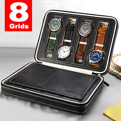 8 Grids Travel Watch Box PU Leather Storage Zipper Wristwatch Case Organizer