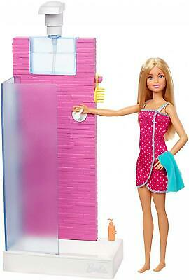Barbie FXG51 Doll and Furniture Set, Bathroom with Working Shower