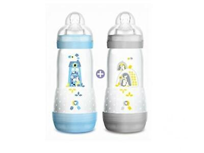 MAM Set of 2 Anti-Colic Baby Bottles with 3 Flow Teats for Boys, 320 ml