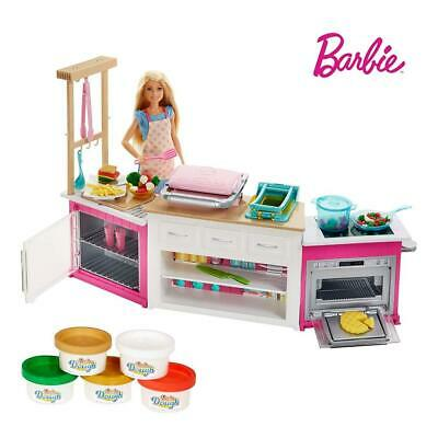 Barbie FRH73 CAREERS Ultimate Kitchen with Doll Playdough, Cooking, Baking...