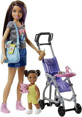 Barbie FJB00 FAMILY Babysitter Brunette Doll with Baby and Accessories, Pram...