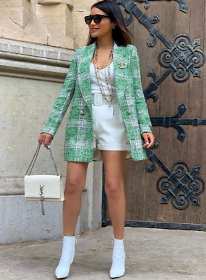 35d1a4cb Zara Woman Double-Breasted Check Frock Coat Jacket Green 2219/747 New Ss19