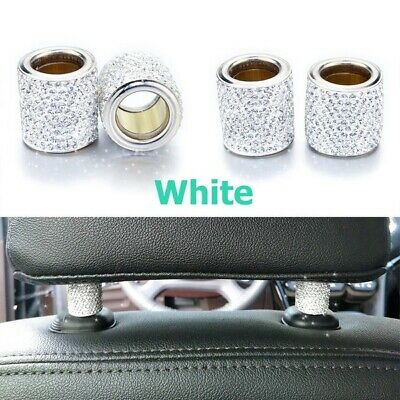 1Pc White Crystal Car Seat Bling Car Accessories Headrest Decoration Charms