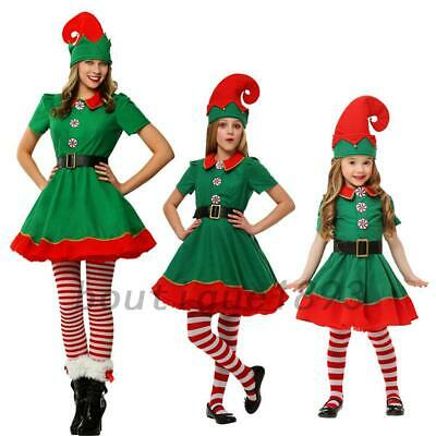 Green Kids Girls Children Santa Elf Costumes Christmas Fancy Dress Outfits AU
