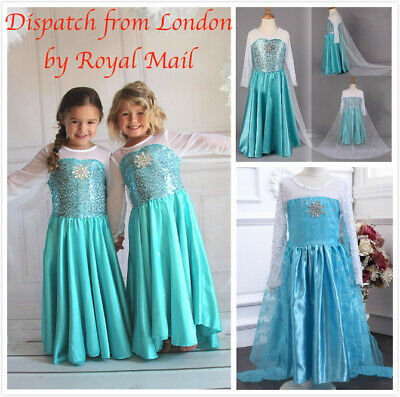 Girls Frozen Elsa Costume Princess Party Dress Fancy Cosplay Outfit