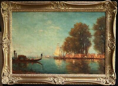 19th CENTURY HUGE FRENCH ORIENTALIST OIL CANVAS - VENICE LAGOON BOATS GONDOLIERS