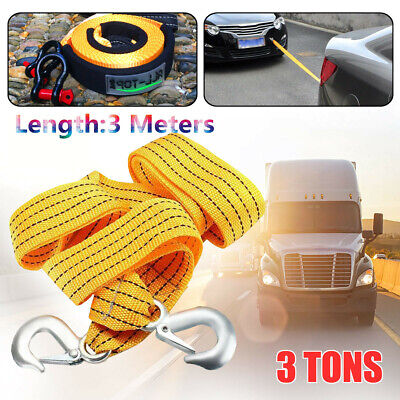 9.84ft Car Truck 3 Tones Tow Cable Towing Strap Heavy Duty Pull Rope Steel Hook
