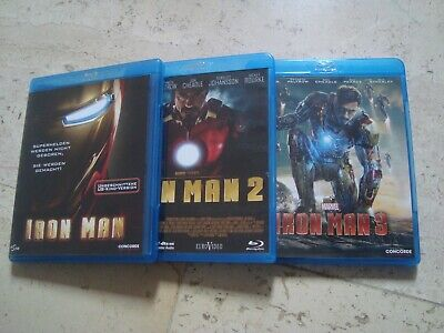 IRON MAN TRILOGY 1, 2 & 3 THREE Blu-Ray releases MARVEL Robert Downey jr