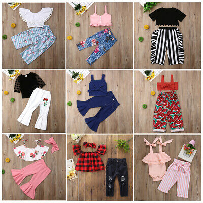 US Cute Toddler Baby Girls Tops T-shirt Tassel Leggings Outfit Clothes Pants Set