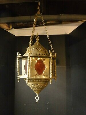 Vtg brass Moroccan Hanging Light Colored Glass Middle Eastern Turkish stained