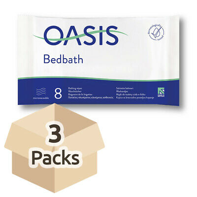 3x Oasis Bed Bath Wipes - Scented - 32cm x 22cm - Pack of 8