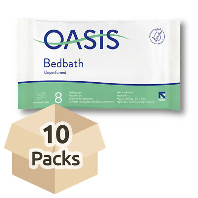 10x Oasis Bed Bath Wipes - Unscented - 33cm x 22cm - Washing Aid