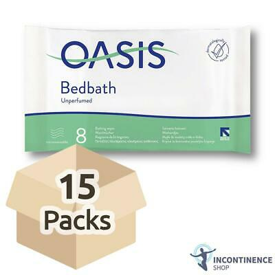 15x Oasis Bed Bath Wipes - Unscented - 33cm x 22cm - Washing Aid