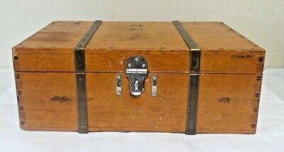 Antique Vintage Wood  Asian Chinese box dove tail brass Travel Rare