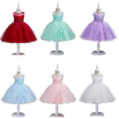 Kids Girls Lace Pageant Princess Dress Wedding Birthday Bridesmaid Formal Party
