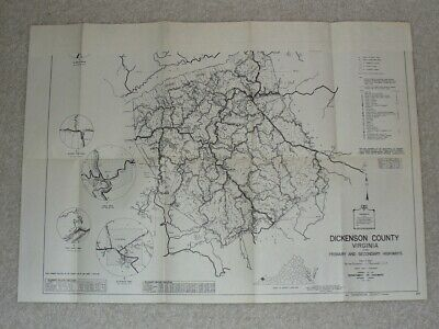 1959 MAP OF DICKENSON COUNTY, VIRGINIA Highway System Map Folded 23x16 B&W