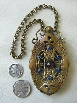 Antique Art Nouveau Victorian Gold Blue Jewel Chatelaine Perfume Vinaigrette