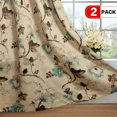 H.Versailtex Vintage Floral With Brown Aqua Taupe Pattern Blackout Living Room/B