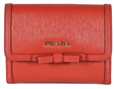 f1785211a3ffdf New Prada 1MH523 Red Vitello Leather Small Bowtie Bifold French Wallet  W/Coin