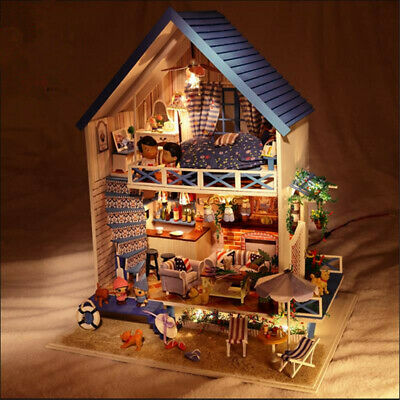 Hoomeda DIY Wood Romantic Aegean Sea Dollhouse Miniature With LED Music