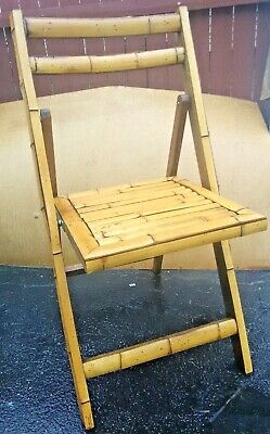 VTG TIKI bamboo folding CHAIR STURDY/FOLD & STORES EASY~GREAT TO USE IN SAUNA