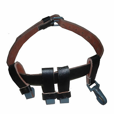German WW2 Black Leather Helmet Carry Strap with Metal Clips (Carrier Only) rI2