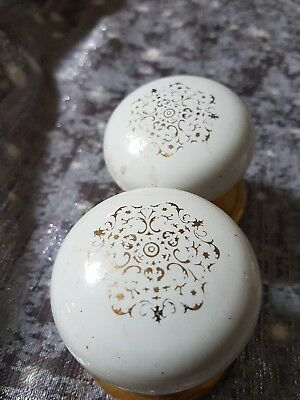 A Pair Of Ceramic Doors Nobs With A Gold Pattern. Australia  Made.