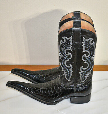 d009ae21228 MEN'S AGUILA REAL Black Leather Mexican Long Toe Cowboy Western Boots Sz  8.5 M