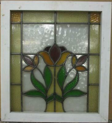 "MID SIZED OLD ENGLISH LEADED STAINED GLASS WINDOW Stunning Floral 20.5"" x 22.75"""