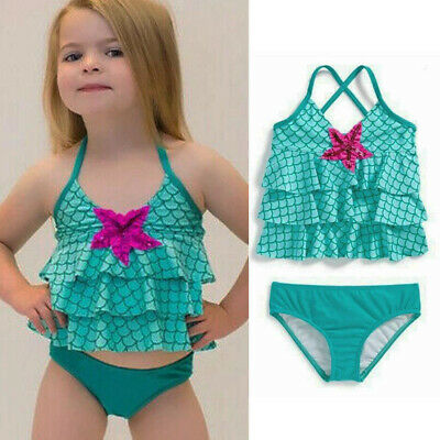 e1f188f2907 2-7T Kids Girls Mermaid Scale Ruffle Swimwear Set Beachwear Bathing Suit