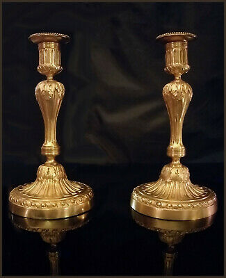 A Pair Of French Ormolu Neoclassical Candleholders Stamped HJ. 1,5 Kg.  5 Parts