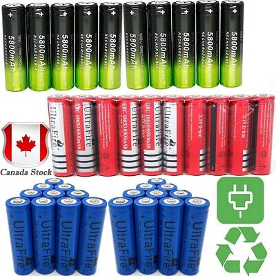 20* 6000mAh 18650 Battery Batteries 3.7V Rechargeable Smart Charger Skywolfeye
