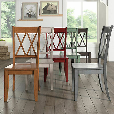 ELEANOR DOUBLE X Back Wood Dining Chair Set Of 2 By